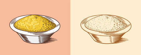 Mustard or Spicy condiment. Dip or dipping sauce. Illustration for Vintage background or poster. Engraved hand drawn sketch. Ilustrace