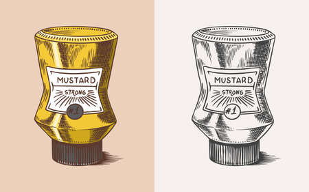 Mustard packaging. Sauce in a bottle with a label. Spicy condiment. Illustration for Vintage background or poster. Engraved hand drawn sketch. Ilustrace