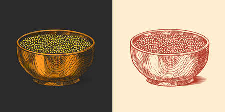 Bowl of Mustard seeds or Spicy condiment. Dip or dipping sauce. Illustration for Vintage background or poster. Engraved hand drawn sketch.