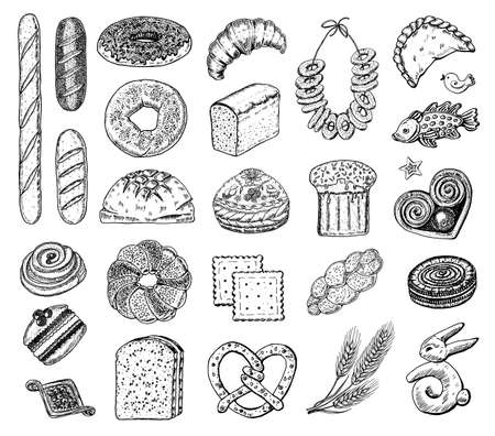 Bakery products set. Donuts bagels, cookies and and baguette, pie and croissant and Easter cake. Engraved hand drawn in old sketch and vintage style for label and menu bakery shop. organic food.