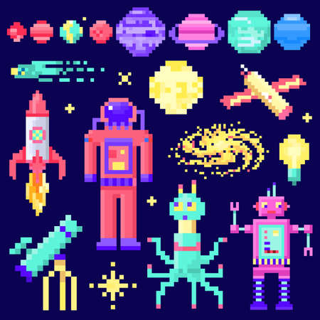 Set of space stars, alien spaceman, robot rocket and satellite cubes solar system planets pixel art, digital vintage game style. Mercury, Venus, Earth, Mars, Jupiter, Saturn. icons composition.