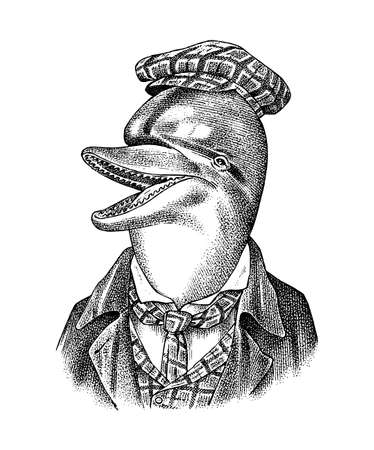 Dolphin man in hat and suit. Marine mammal. Victorian gentleman. Fashion animal character. Hand drawn sketch. Engraved illustration for and T-shirts or tattoo Illustration