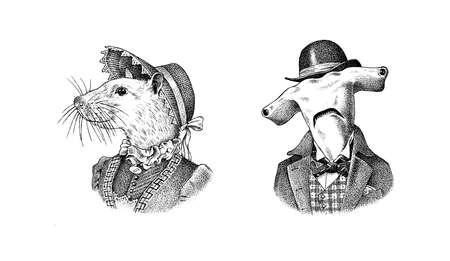 White Mouse and Great hammerhead shark in hat and suit. Victorian lady or woman and man. Fashion animal character. Vector engraved illustration for logo and T-shirts or tattoo. Hand drawn sketch.