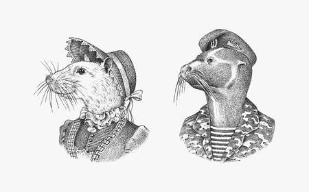 White Mouse in hat and suit. Fur seal man in military uniform. Victorian lady or Woman. Fashion animal character. Vector engraved illustration for label, logo and T-shirts or tattoo. Hand drawn sketch