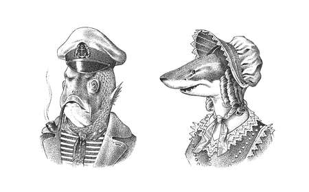 Fish man sailor with a pipe. Fish victorian lady. Woman in hat and suit. Mariner in a cap and vest. Fashion animal character. Hand drawn sketch. Engraved illustration for and T-shirts or tattoo.