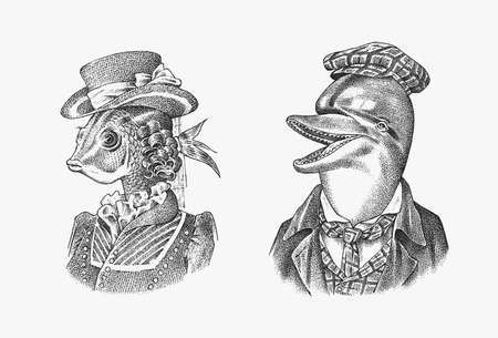 Fish woman and Dolphin man in hat and suit. Victorian lady. Marine mammal. Victorian gentleman. Fashion animal character. Hand drawn sketch. Engraved illustration for and T-shirts or tattoo