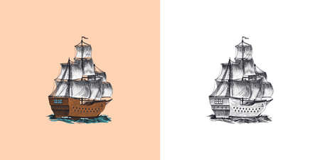 Sailboat in the sea, summer adventure, active vacation. Seagoing vessel, marine ship or nautical caravel. Water transport in the ocean for sailor and captain. Engraved hand drawn in vintage style.  イラスト・ベクター素材
