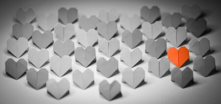 origami paper: Origami paper hearts Stock Photo