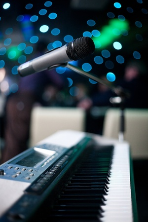 microphone and piano