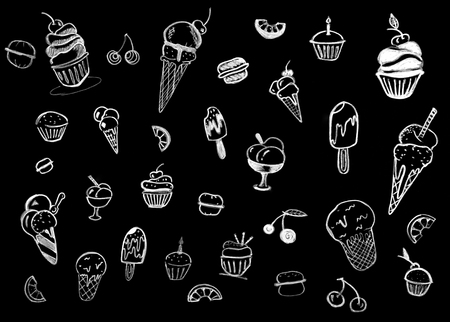 Sweet pastries on chalkboard hand-drawn background