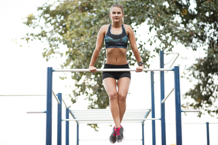 Woman on outdoor workout Stock Photo