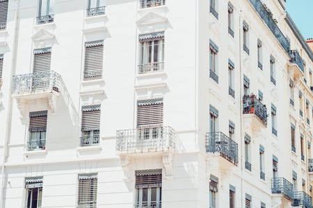 Vintage building facade wall. Classic european architecture