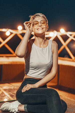 Portrait of attractive hipster girl in eyewear 写真素材