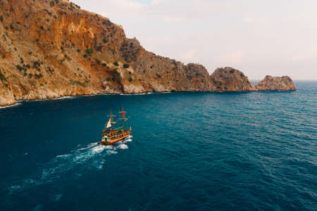 Sailboat in the sea on a beautiful day, luxury summer adventure, active vacation in Mediterranean sea, Turkey