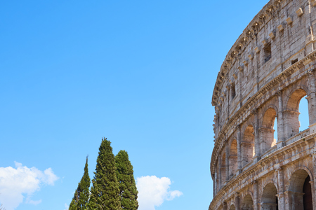 Rome Colosseum against a blue sky. Copy space for text. Stock Photo