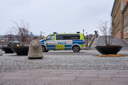 Police car in front of Royal palace of Stockholm.
