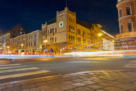 TURKU, FINLAND - January 01, 2021: Night crossroads in Turku, Finland at night.