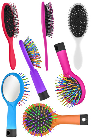 primp: Set of seven hair comb brushes for women and children, with handle and mirror on the back, isolated on transparent or white background