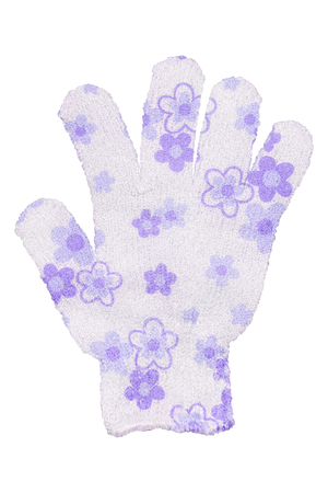 White hand bath sponge glove with purple flowers design, isolated on transparent or white background