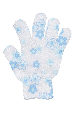 White hand bath sponge glove with blue flowers design, isolated on transparent or white background