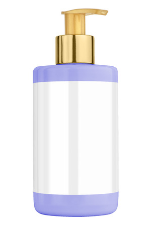 body lotion: Blue body lotion plastic bottle with blank label and golden lid, isolated on transparent or white background Stock Photo