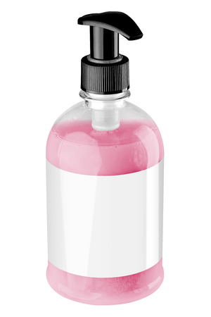 Transparent plastic bottle with red liquid hand soap, blank label and black dispenser lid, isolated on white background. Tilted view.
