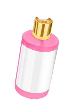 Pink shower gel plastic bottle with blank label and golden lid, tilted view, isolated on transparent or white background Stock Photo