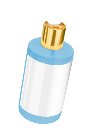 Blue shower gel plastic bottle with blank label and golden lid, tilted view, isolated on transparent or white background Stock Photo