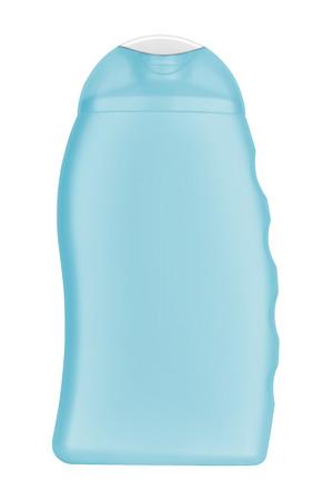 no label: Blue blank shampoo bottle, no label, isolated on transparent or white background Stock Photo
