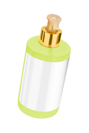 Green body lotion plastic bottle with blank label and golden lid, tilted view, isolated on transparent or white background