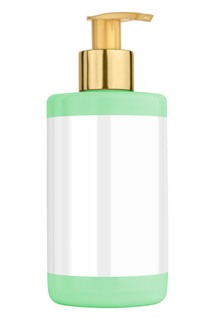 body lotion: Green body lotion plastic bottle with blank label and golden lid, isolated on transparent or white background