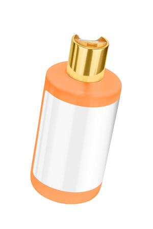 Orange shower gel plastic bottle with blank label and golden lid, tilted view, isolated on transparent or white background Stock Photo