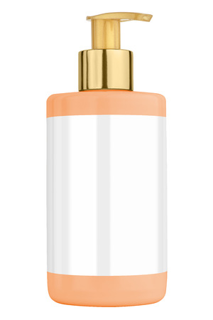 body lotion: Orange body lotion plastic bottle with blank label and golden lid, isolated on transparent or white background