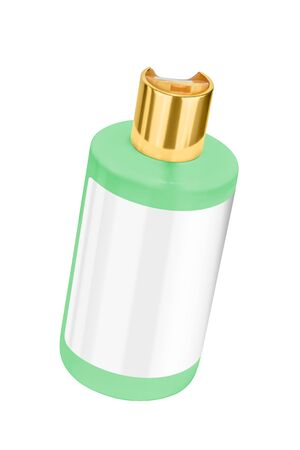 Green shower gel plastic bottle with blank label and golden lid, tilted view, isolated on transparent or white background Stock Photo