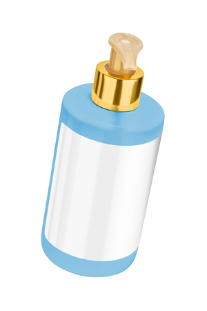 Blue body lotion plastic bottle with blank label and golden lid, tilted view, isolated on transparent or white background