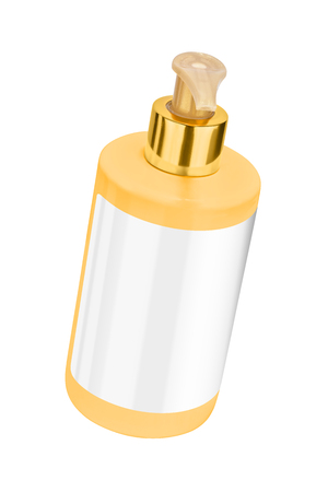 Yellow body lotion plastic bottle with blank label and golden lid, tilted view, isolated on transparent or white background