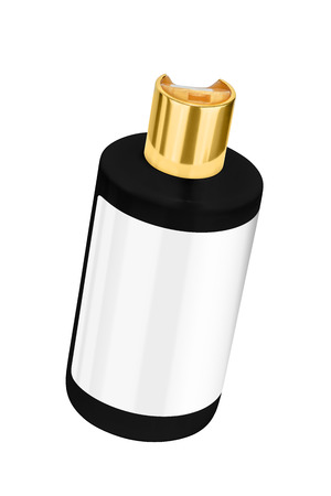 Black shower gel plastic bottle with blank label and golden lid, tilted view, isolated on transparent or white background Stock Photo