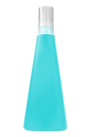 Sun protecting cream turquoise bottle, isolated on white background