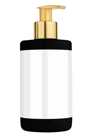 body lotion: Black body lotion plastic bottle with blank label and golden lid, isolated on transparent or white background Stock Photo