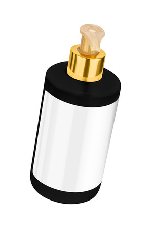Black body lotion plastic bottle with blank label and golden lid, tilted view, isolated on transparent or white background