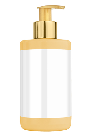 body lotion: Yelllow body lotion plastic bottle with blank label and golden lid, isolated on transparent or white background
