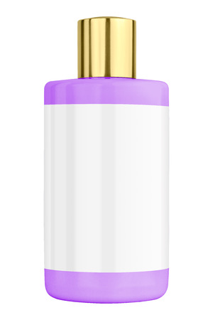 mauve: Mauve shower gel plastic bottle with blank label and golden lid, isolated on transparent or white background