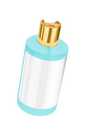 Turquoise shower gel plastic bottle with blank label and golden lid, tilted view, isolated on transparent or white background