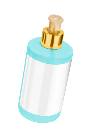 body lotion: Turquoise body lotion plastic bottle with blank label and golden lid, tilted view, isolated on transparent or white background