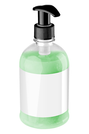 Transparent plastic bottle with green liquid hand soap, blank label and black dispenser lid, isolated on white background. Tilted view. Stock Photo