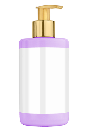 body lotion: Mauve body lotion plastic bottle with blank label and golden lid, isolated on transparent or white background