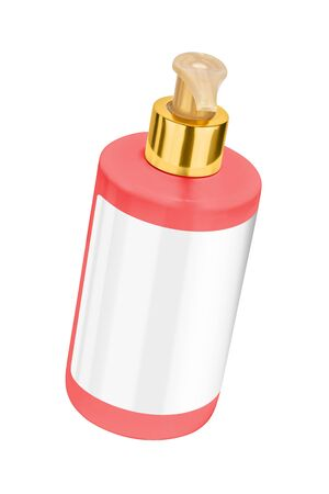 Red body lotion plastic bottle with blank label and golden lid, tilted view, isolated on transparent or white background