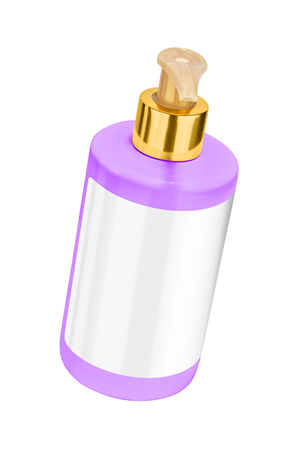 Mauve body lotion plastic bottle with blank label and golden lid, tilted view, isolated on transparent or white background Stock Photo
