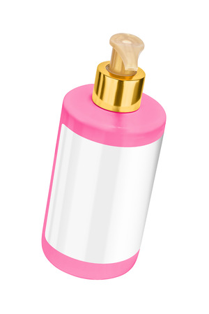 body lotion: Pink body lotion plastic bottle with blank label and golden lid, tilted view, isolated on transparent or white background Stock Photo