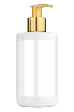 body lotion: White body lotion plastic bottle with blank label and golden lid, isolated on transparent or white background
